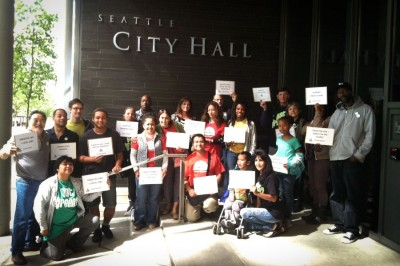 The Got Green South Seattle Jobs Committee and supporters outside City Hall during their first meeting this past summer with Mayor Ed Murray on Priority Hire. (Photo courtesy Got Green).
