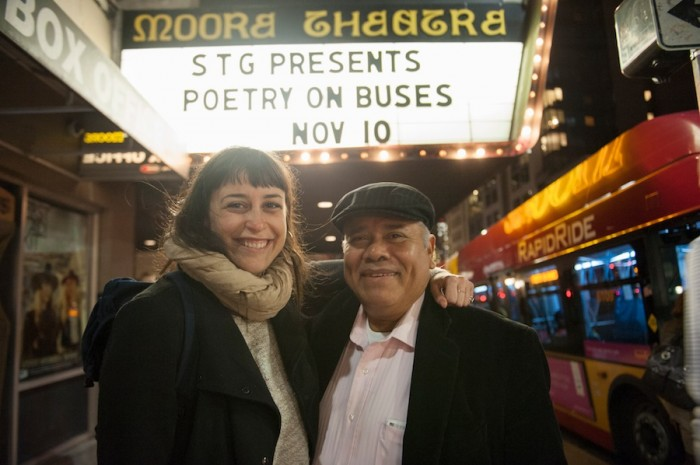 The author with a fellow poet Victor Fuentes, outside the Moore Theatre. (Photo by Timothy Aguero)