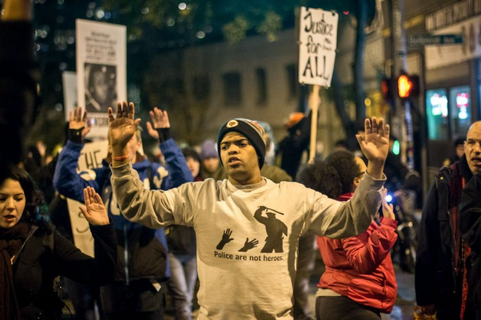 Protests at Westlake Park on November 24th, the day the grand jury handed down the decision not to indict Officer Darren Wilson for the shooting of Michael Brown. (Photo by Jama Abdirahman)