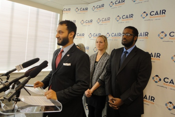 Arsalan Bukhari, executive director of CAIR-WA, calls for an FBI investigation of a racially-charged assault against a Muslim cab driver. (Photo courtesy CAIR-WA.)