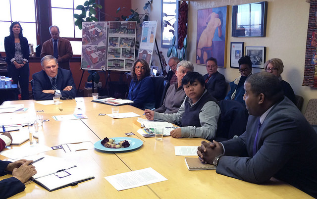 """Tukwila City Council Member De'Sean Quinn talked about how his city is a """"hotspot"""" where people of color are impacted by climate change and other factors affecting health and economic status of minorities. (Photo via Gov. Jay Inslee's Flickr)"""