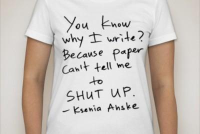 Anske's printed tweet t-shirts, for sale on her website. (Photo courtesy Ksenia Anske)