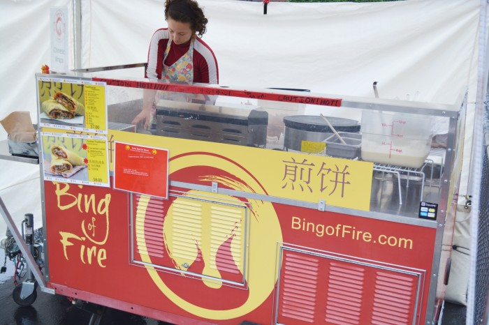 Bing of Fire is the only food cart in Seattle that sells Chinese crepe, which is also called Jian Bing. (Photo by Katy Wong)