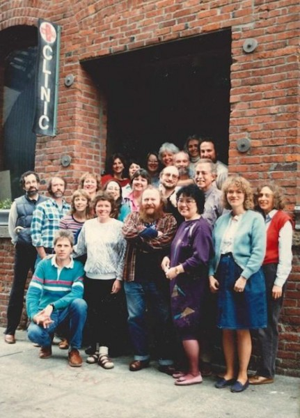 The staff of Pike Market Clinic in the 1980s, where nurse Carol Glenn worked in Seattle in the 1980s. It wasn't until she worked at Harborview Madison Clinic that she began taking unused HIV/AIDS medicine and sending them to developing countries. (Photo courtesy Carol Glenn)