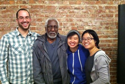 From left to right, Dan Berger, Mark Cook, J.M. Wong, and Jaz S. at Berger's recent book launch in Hillman City Collaboratory. (Photo by Christina Twu)