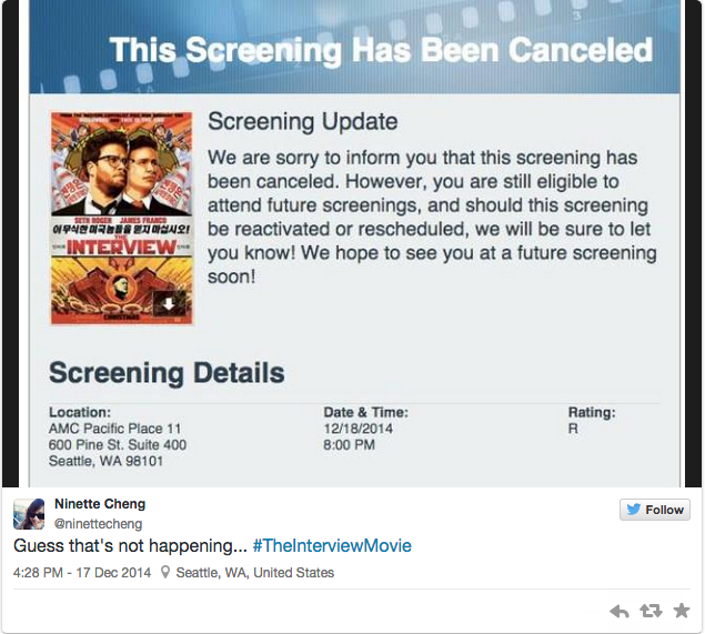 """One of the Seattle reactions on Twitter to the cancellation of """"The Interview"""" following threats to theaters. (Screen shot of local tweet.)"""