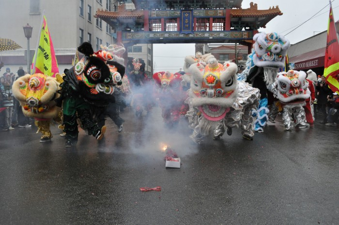 Lion dancers help celebrate Chinese New Year in Seattle's International District in 2011. (Photo by Joe Mabel, used with Creative Commons license.)