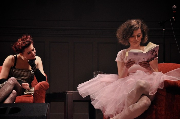 Ksenia Anske reading from Amanda Palmer's book, 'The Art of Asking', at Town Hall on November 18th. (Courtesy Ksenia Anske)