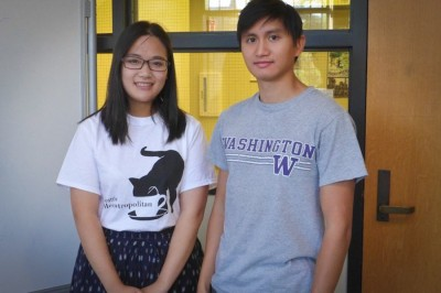 Louisa Liu and Matt Lai, two of the founders of the Seattle Meowtropolitan. (Photo by Grace Qian)