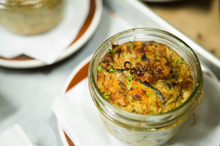 "The Cauliflower and Wild Mushroom Kugel served at the ""A Monday Night in Winter"" pop up restaurant. Sisters Anna and Molly Goren, Seattleites who organized the event, hope it will help bring more Jewish food choices to the area. (Photo by Lindsey Wasson / The Seattle Times)"