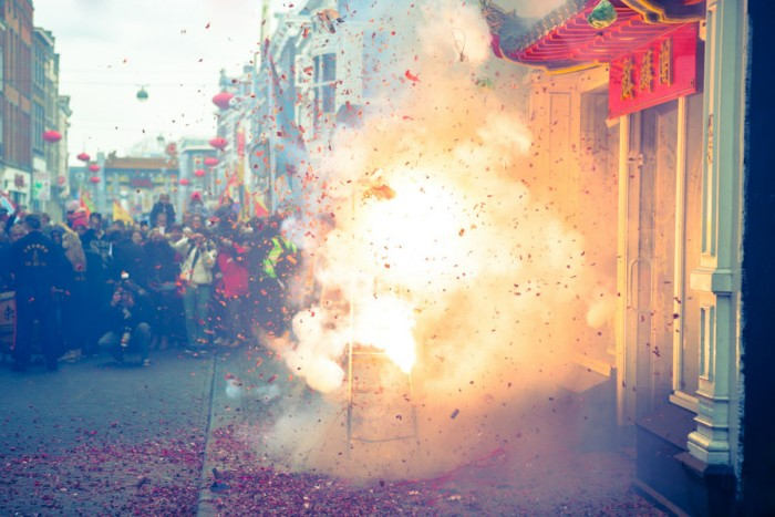 Fireworks explode at a Chinese New Year celebration in the Netherlands. (Photo from Flickr by Christopher A. Dominic)