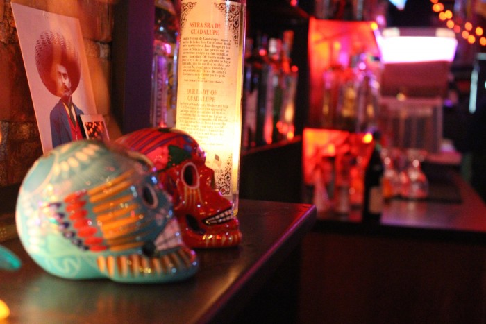 Día de los Muertos skulls at Nacho Borracho liven the atmosphere and provide a dose of Mexican-themed flair. (Photo by Nicole Einbinder)