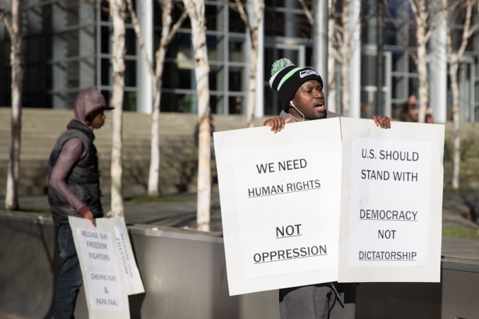 Gambian American protestors gather outside the Federal Courthouse on Monday. (Photo by Alex Garland)