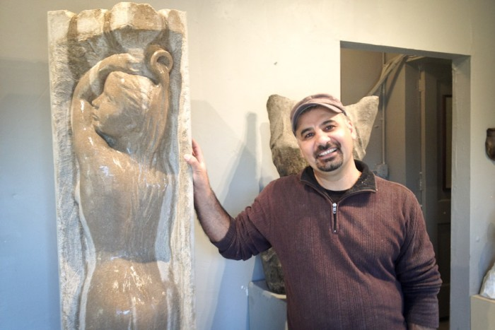 Sabah Al-Dhaher in his studio. (Photo by Reagan Jackson)