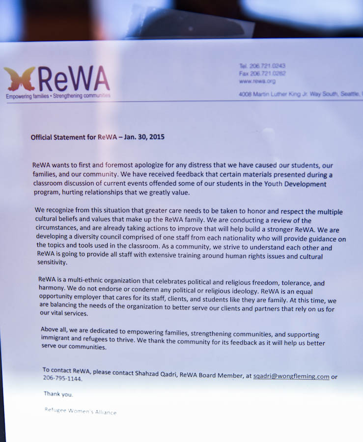 The letter posted on the doors of ReWA Friday. (Photo by Alex Garland)
