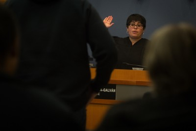 Judge Veronica Alicea Galván presides over the Des Moines Municipal Court last week. She was recently appointed to the King County Superior Court. (Photo by Ellen Banner / The Seattle Times)
