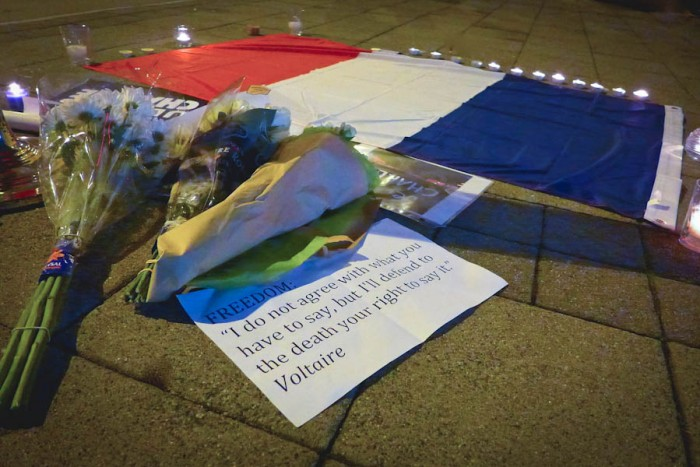 French Seattle vigil for Charlie Hebdo