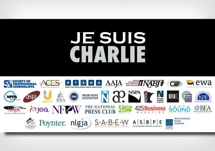 The Society of Professional Journalists assembled a graphic showing its support of a satirical newspaper in Paris where 12 people were gunned down. (Graphic courtesy Society of Professional Journalists.)