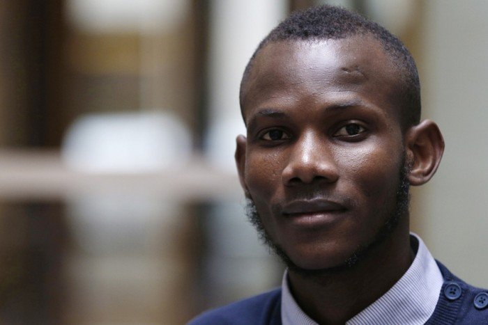 Lassana Bathily, a Muslim employee from Mali who helped Jewish shoppers hide from an islamist gunman during the Hyper Cacher attack. Bathily was rewarded with French citizenship for his heroics. (Photo by Francois Guillot / AFP)