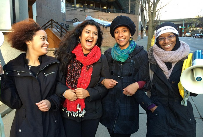 "The four ladies of Women of Color for Systemic Change in front of the Seattle's federal building shortly after a Dec. 6 ""Black Lives Matter"" protest they led. (Photo courtesy of Jazmine Monet)"
