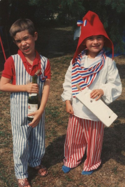 The author (left, during French bicentennial celebrations in 1989) torn between differing French and American concepts of free speech. (Courtesy photo)