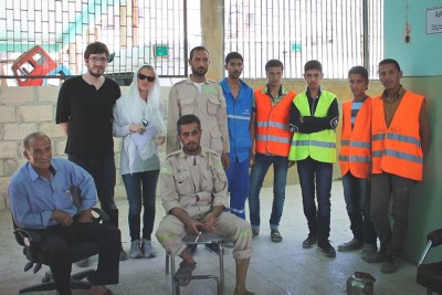 The author (2nd from left) with members of the Syrian Civil Defense (a rebel group opposed to ISIS) in Azaz, Syria last year. (Courtesy photo)