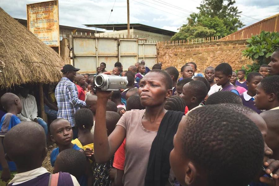 A donated video camera being used by a One Vibe student, Mercy Auma.(Photo courtesy of One Vibe Africa)
