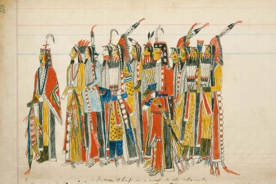Julian Scott ledger, Artist B (Ka'igwu Kiowa]) Kiowa and Comanche Indian Reservation, Oklahoma, Twelve High-Ranking Kiowa Men, ca. 1880 Pencil, colored pencil, and ink on paper, 7 1/2 × 12 in., Diker no. 059 LD Courtesy of American Federation of Arts
