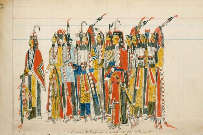 Julian Scott ledger, Artist B (Ka'igwu Kiowa]) Kiowa and Comanche Indian Reservation, Oklahoma, Twelve High-Ranking Kiowa Men, ca. 1880 Pencil, colored pencil, and ink on paper, 7 1/2 × 12 in., Diker no. 059 LD Courtesy of American Federation of Arts