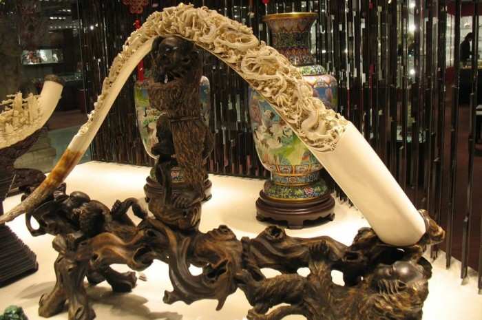 Carved Tusk in Kowloon storefront. Photo by televiseus via Flickr.