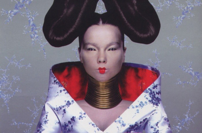 """A screen grab of Bjork's 1997 """"Homogenic"""" album cover designed by Nick Knight, where the artist is styled and dressed by Alexander McQueen."""