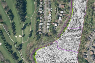 A map identifying slope areas of the Cheasty Greenspace that would overlap with parts of a proposed mountain bike trail. (Screenshot from Seattle's Parks and Recreation Department website)