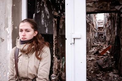 A building damaged in fighting in Kurakhove, in the Donetsk region of eastern Ukraine. (Photo by VO Svodboda via Picasa)