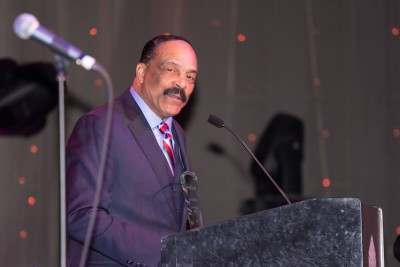 """Activist Eddie Rye, Jr, who was instrumental in the renaming of Seattle's Empire Way to Honor Martin Luther King, Jr in the early 1980's, received an award as """"Servant of the People."""" (Photo by Jama Abdirahman)"""