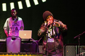 Seattle hip hop artist Draze performs at the EMP's Black History Month Kickoff on Saturday. (Photo by Jama Abdirahman)