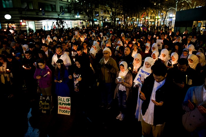 Hundreds at a vigil in Westlake Park in honor of three Muslim students who were killed in a shooting in Chapel Hill in February. (Photo by Alex Garland.)