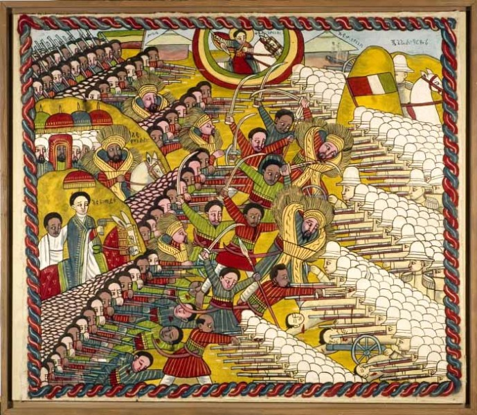 An Ethiopian painting depicting the battle of Adwa, when an Ethiopian army repelled Italian colonialist ambitions. (From the Tropenmuseum of the Royal Tropical Institute)