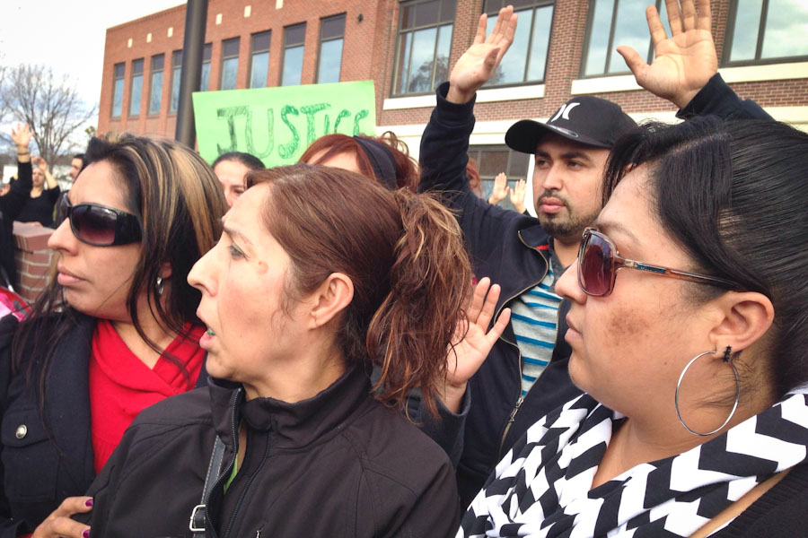 Family members of Antonio Zambrano-Montes gather outside of Pasco City Hall to protest the shooting. (Photo courtesy of Anna King / Northwest News Network)