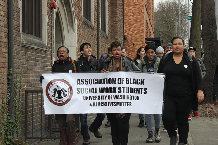 Social work students march at a Black Live Matter walkout at UW that drew hundreds. (Photo by Ashley Walls.)