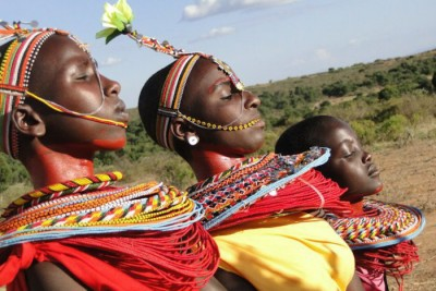 Maasai girls dance during an alternative to female genital mutilation in Esiteti, southern Kenya (Photo by Samuel Siriria)