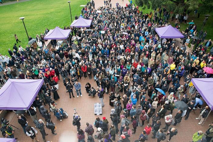 A Black Lives Matter walkout at the University of Washington drew hundreds. (Photo by Keoke Silvano.)