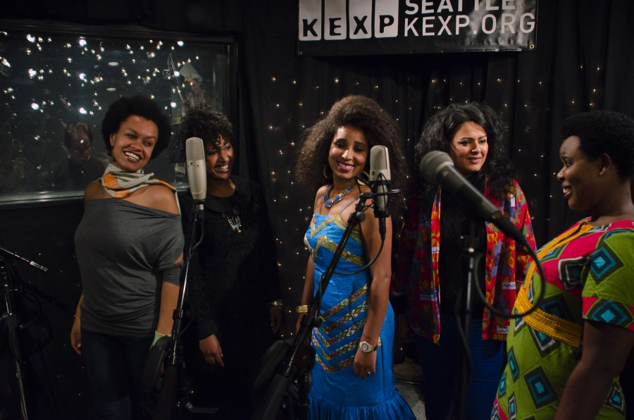 The Nile Project performs for KEXP's 'Immigrant Songs' online series. (Photo by Eric Gonzalez Alfaro, courtesy KEXP.)