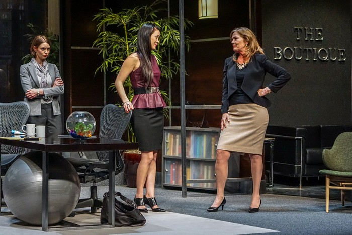 Keiko Green, Cheyenne Casebier and Linda Gehringer in Seattle Repertory Theatre's The Comparables. (Photo by Alabastro Photography, courtesy Seattle Repertory Theatre.)