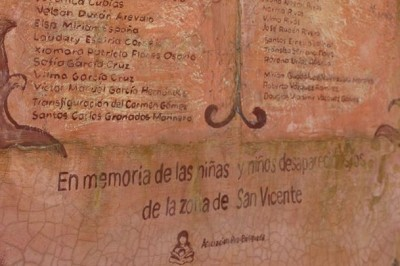 """""""In memory of the disappeared girls and boys from the area of San Vicente."""" (Photo by Asociación Pro-Búsqueda)"""