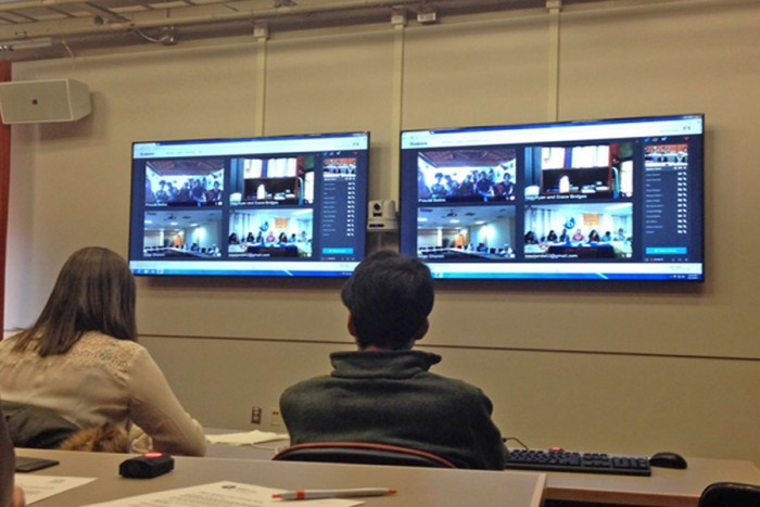 The video chat setup that allowed Seattle students share their stories with Brazil and beyond. (Photo by Megan Herndon)