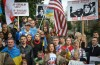 """Ukrainians, Russians, and Americans standing together for """"Seattle in memory of Boris Nemtsov and support of Nadejda Savchenko,"""" a rally organized by Seattle-based Russian-Americans and UAWS. (Courtesy photo)"""