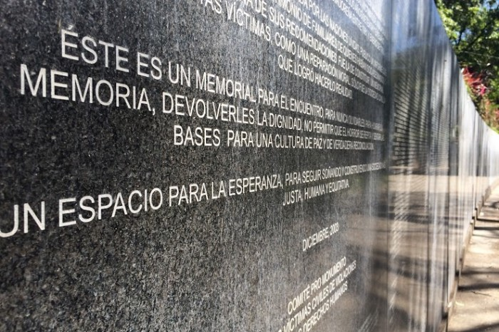 The Monument of Memory and Truth in San Salvador commemorates only a fraction of the 75,000 men, women, and children killed during the civil war that ravaged the country from 1980 until 1992. (Photo by Nicole Einbinder)