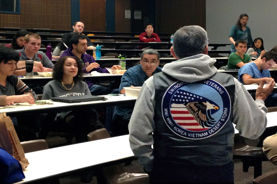 Phil Dan lectures on his experience in the U.S. armed forces as a Native American as part of the UW's Elders-in-Residence pilot program. (Photo by Megan Herndon)