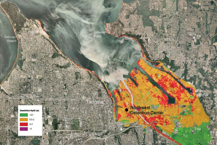 A model showing inundation by a tsunami that would be generated by an 7.3 earthquake on the Seattle fault, which could put the Northwest Detention Center under more than six feet of water. (Map from NOAA and the Washington Dept. of Natural Resources, edited to show NWDC location)