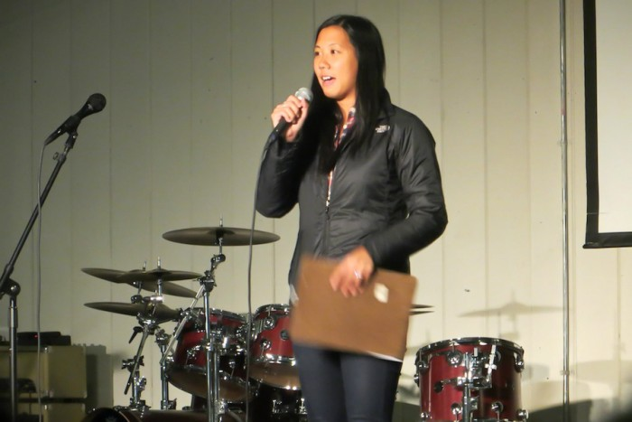 Sarah Chen speaks to students in Asian American InterVarsity. (Photo courtesy of Sarah Chen)